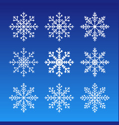 cute snowflakes collection isolated on dark vector image