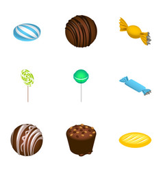 dessert candy icon set isometric style vector image