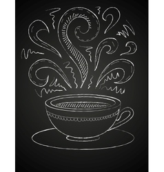 Drawing of a cup of coffee on blackboard vector