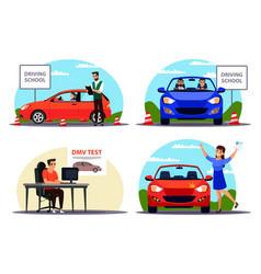Education and examination at driving school set vector