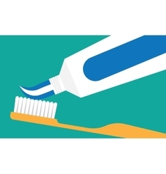 extrude toothpaste from tube on toothbrush vector image