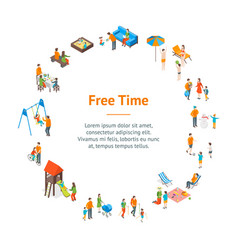 families spending free time 3d banner card circle vector image
