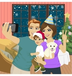 Family making selfie on christmas party vector