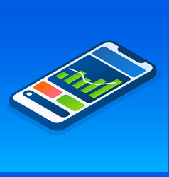 finance graph smartphone icon isometric style vector image