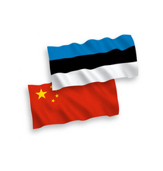 flags of estonia and china on a white background vector image