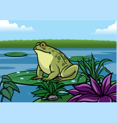Frog cartoon stand in the lotus leaf in the vector