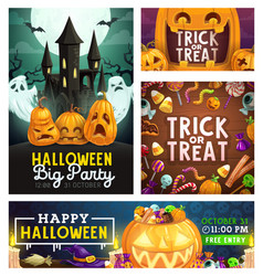 Halloween monster party trick or treat candies vector