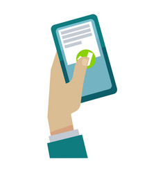 Hand holding the smartphone vector