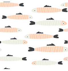 handdrawn seamless pattern of doodle fish sardines vector image