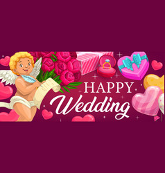 happy wedding pink balloons hearts and flowers vector image