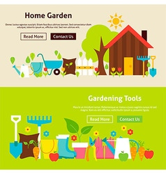 Home Gardening Tools Flat Website Banners Set vector image