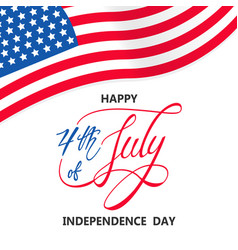 independence day with usa flag on white vector image