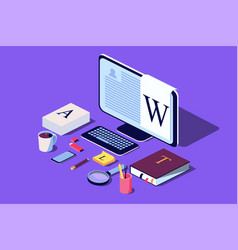 isometric concept for blogging vector image