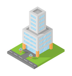 Isometric office building block flat 3d design vector