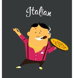 Italian man cartoon character citizen of the vector image