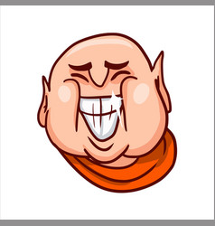 joyful buddha face with a big open grinning mouth vector image