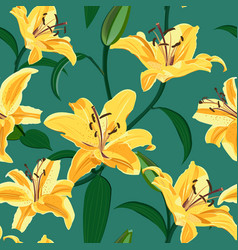 Lily flower seamless pattern on green background vector