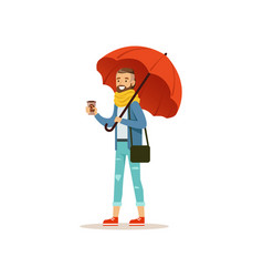 Man wearing warm clothes with coffee cup standing vector