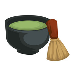 Matcha tea in bowl and bamboo whisk japanese vector