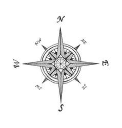 Medieval wind rose sketch engraving vector