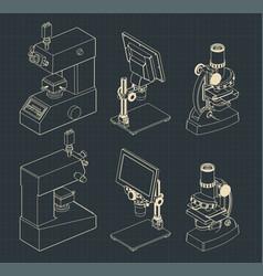 microscopes mini set drawings vector image