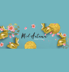 Mid autumn banner gold rabbit and 3d pink flower vector