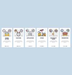 Mobile app onboarding screens job application cv vector