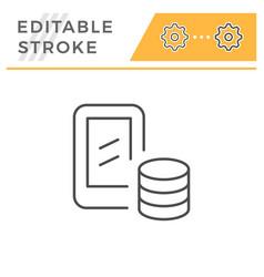 mobile banking editable stroke line icon vector image