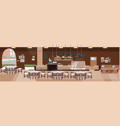 modern cafe empty no people restaurant hall with vector image
