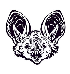 monochrome bat head with open mouth vector image