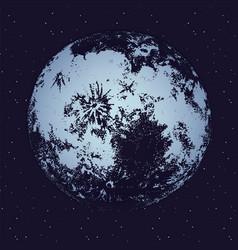 Moon against dark night sky full of stars on vector