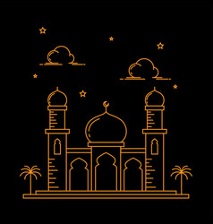 mosque building line art design isolated black vector image