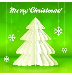 Origami paper white Christmas tree vector image