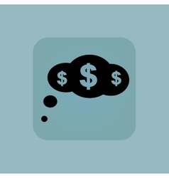 Pale blue dollar thought icon vector