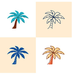 palm tree icon set in flat and line style vector image
