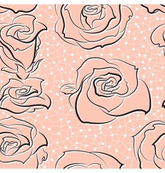 pattern with hand-sketched roses vector image