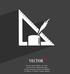Pencil and ruler symbol Flat modern web design vector image