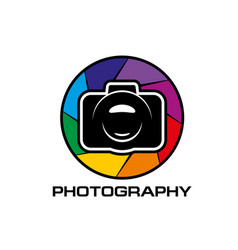 photography round icon with photo camera diaphragm vector image