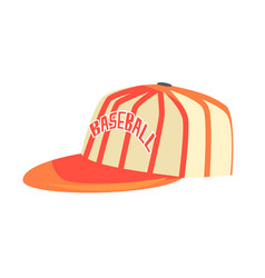 Pitcher cap with orange stripes part of baseball vector