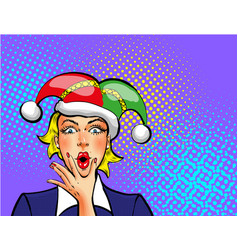 pop art april fools day woman in jester hat vector image