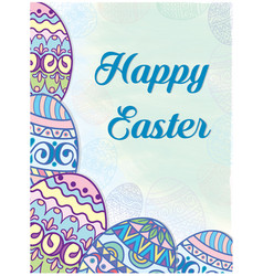 postcard on groin painted eggs vector image