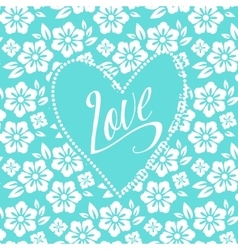 Postcard with turquoise heart on white floral vector image