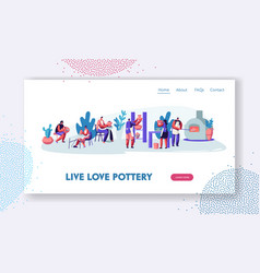 Pottery workshop website landing page characters vector