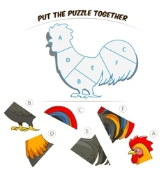 Puzzle game for children rooster vector