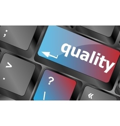 quality button on computer keyboard showing vector image