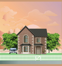 Residential detached house at dawn vector