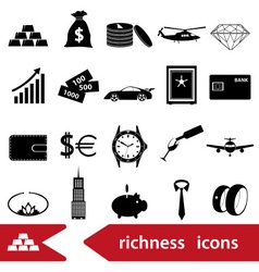 Richness and money theme black icons set eps10 vector