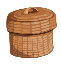 Round wooden basket with a lid vector