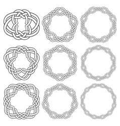 Set of magic knotting rings Nine circular vector