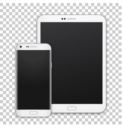 set of realistic tablet and mobile phone with vector image vector image